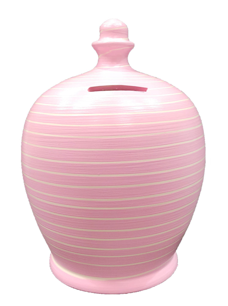 Terramundi Money Pot Stripe  Pink and White - A90