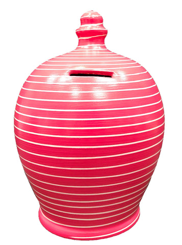 Terramundi Money Pot EXPRESS Stripe Raspberry and White - EXA91