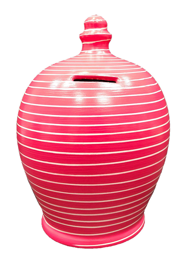 Stripe Money Pot Raspberry and White - A91