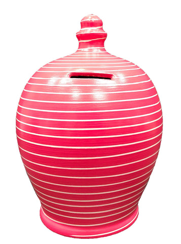 Terramundi Money Pot Stripe Raspberry and White - A91