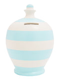 Stripe Money Pot White with Baby Blue - B16