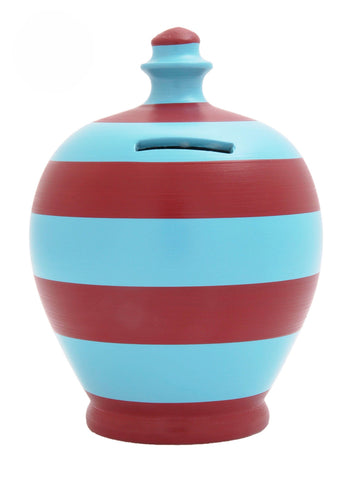 Terramundi Money Pot Stripe 'Football' Blue and Burgundy - B43