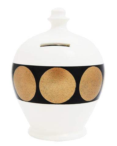 Spot Money Pot White, Black and Gold - B54