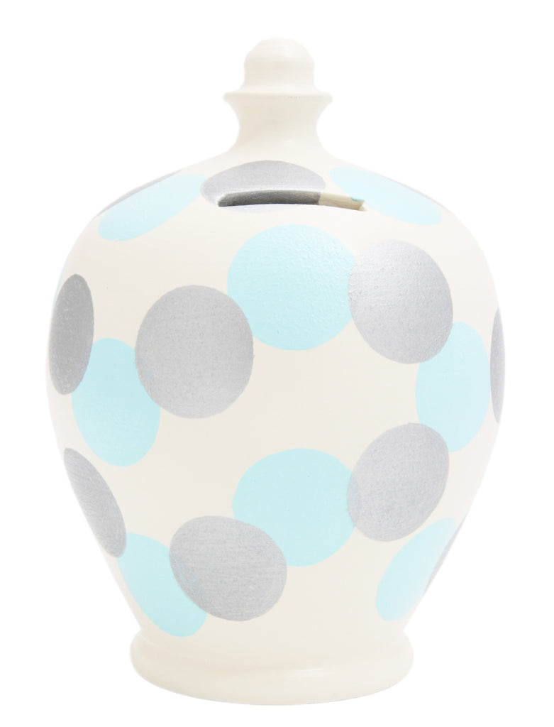 Terramundi Money Pot Spot White with Silver and Baby Blue - B67