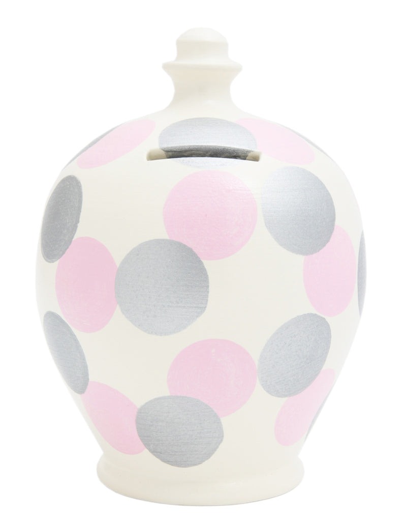 Spot Money Pot White with Silver and Pale Pink - B68