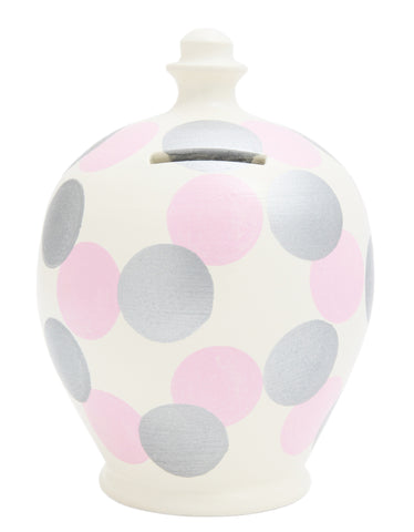 Terramundi Money Pot Spot White with Silver and Pale Pink - B68