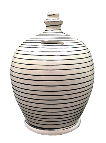 Terramundi Money Pot EXPRESS Stripe Light Grey and Black - EXB81