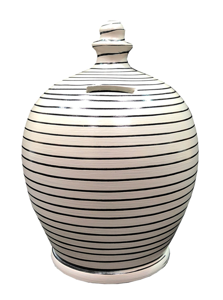 Stripe Money Pot Light Grey and Black - B81