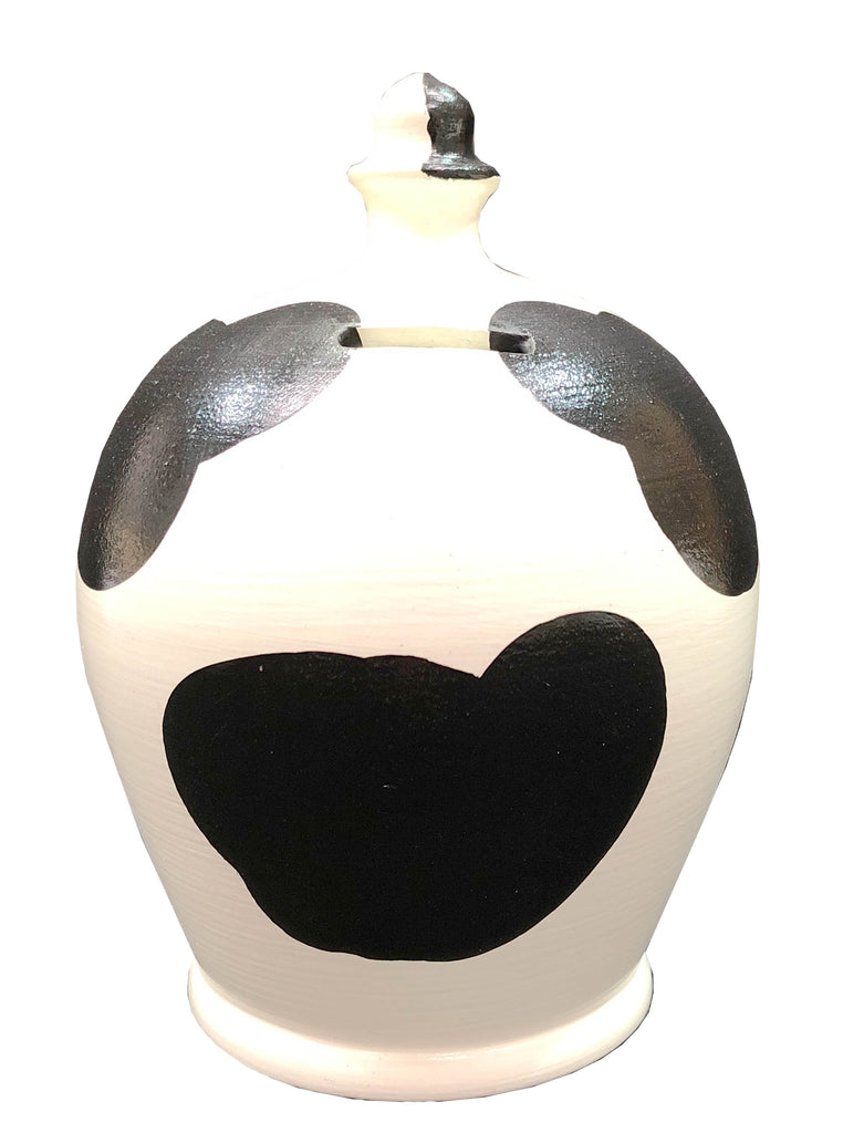 EXPRESS Cow Money Pot White with Black Patches - EXB82