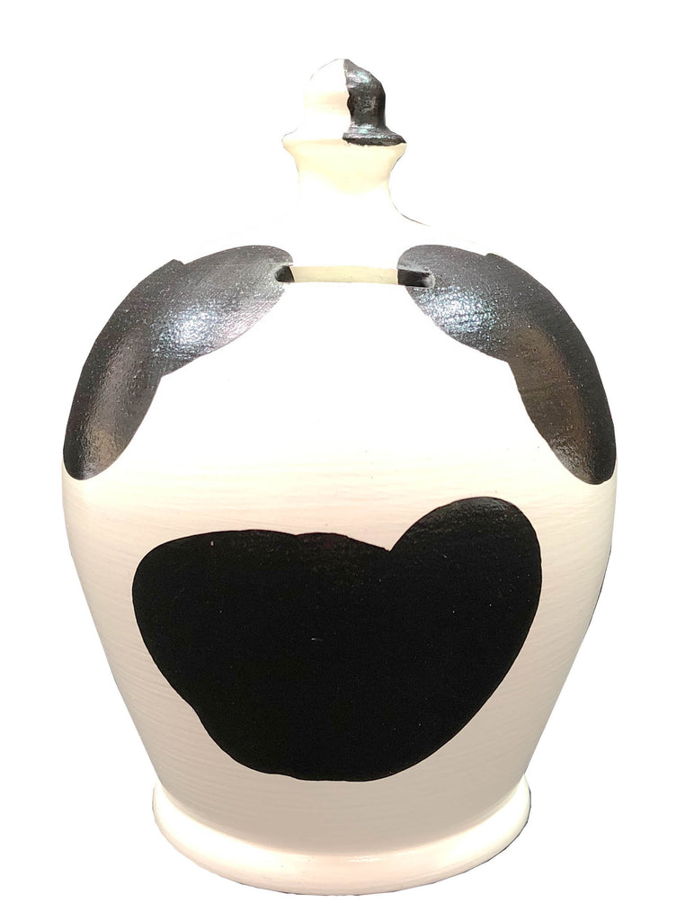 Terramundi Money Pot Cow White with Black Patches - B82