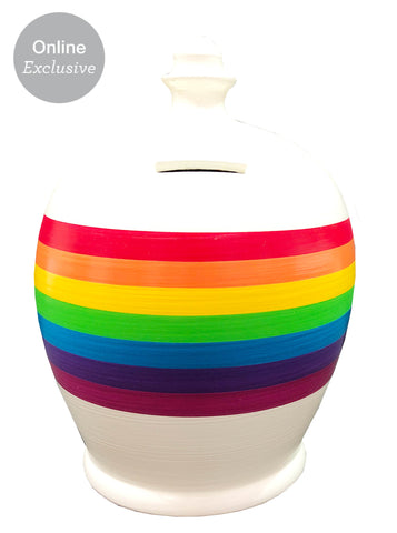 Terramundi Money Pot Stripe Rainbow on White - B83