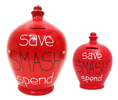 'Save Smash Spend' Deluxe Money Pot Red - BP46