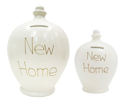 'New Home' Deluxe Money Pot White With Gold - BP48