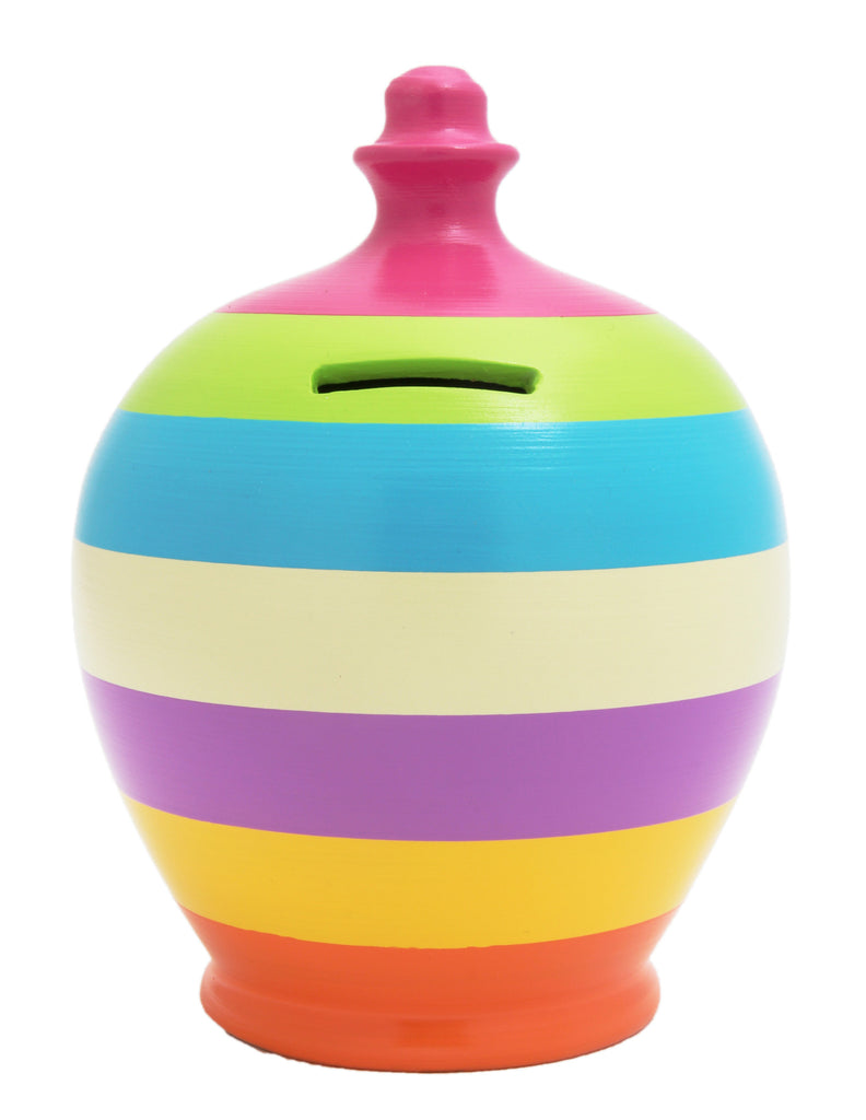 Stripe Money Pot Multi Colour - C12