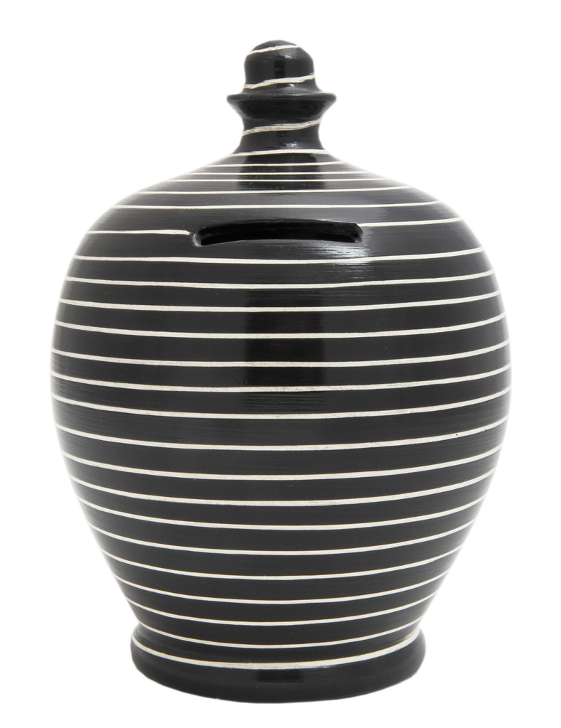 Terramundi Money Pot Stripe Black and White - C13