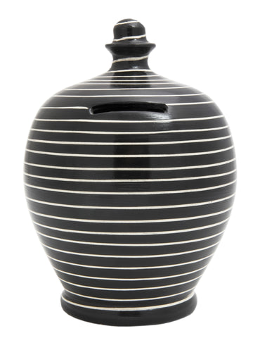 Stripe Money Pot Black and White - C13