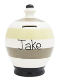 Stripe Money Pot White with Black, Grey and Mistletoe - C23