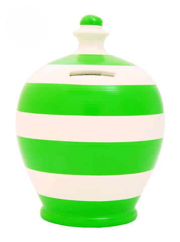 Terramundi Money Pot Stripe 'Football' Green and White - C29