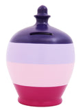 Stripe Money Pot Purple, Lilac, Pink and Crocus - C58
