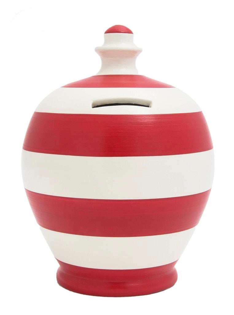 Terramundi Money Pot Stripe 'Football' Red and White - C6