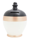 Stripe Money Pot White with Black Top and Rose Gold Band and Base - C63
