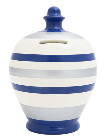 Stripe Money Pot White with Electric Blue and Silver - C65