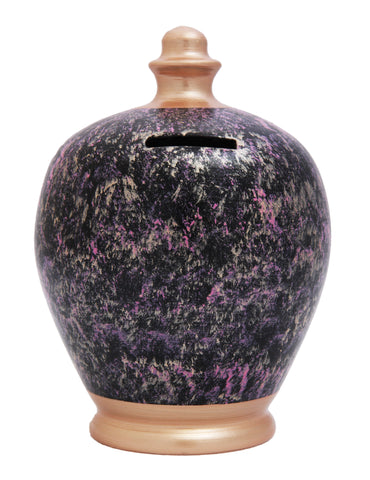 EXPRESS Marble Money Pot Black with Rose Gold, pink and purple - EXC66