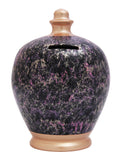 Marble Money Pot Black with Rose Gold, pink and purple - C66