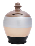Stripe Money Pot Black with, Gold, Silver and Bronze - C67