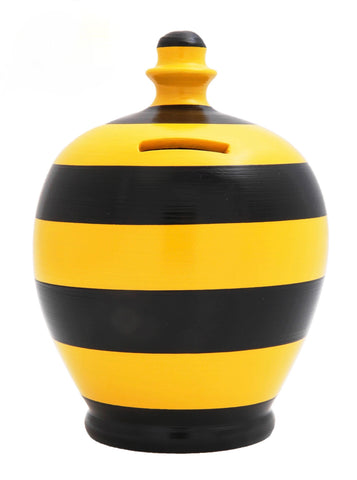Terramundi Money Pot Stripe 'Football' Black and Yellow - D33