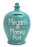 Stripe Money Pot Dark Aqua and Gold - D38