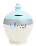 Stripe Money Pot White Base with a Baby Blue Top and Silver Band - D42