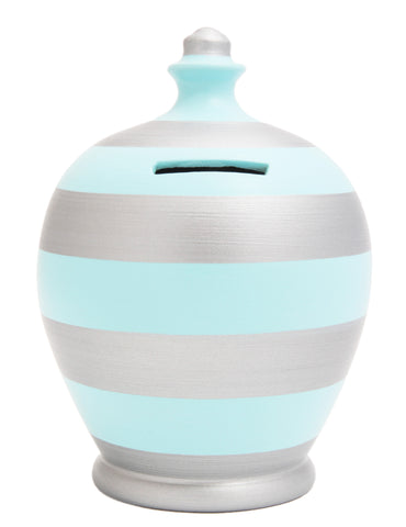 Stripe Money Pot Baby Blue and Silver - D43