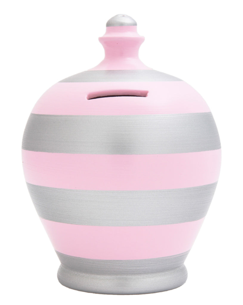 Stripe Money Pot Pale Pink and Silver - D44