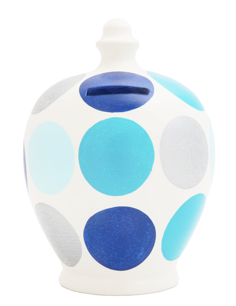 Terramundi Money Pot Spot White with Silver and Blue Spots - D46