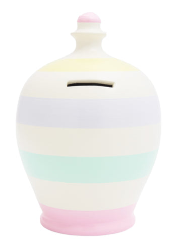 Stripe Money Pot White with Pale Pink, Yellow, Pale Lilac and Mint Green - D57