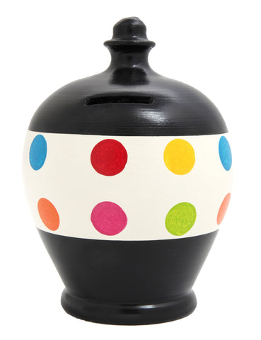 Spot Money Pot Black with White Stripe & Multi Coloured Spots - D60