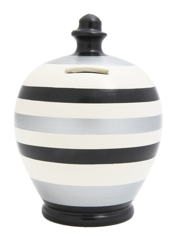 Stripe Money Pot Black White and Silver - D68