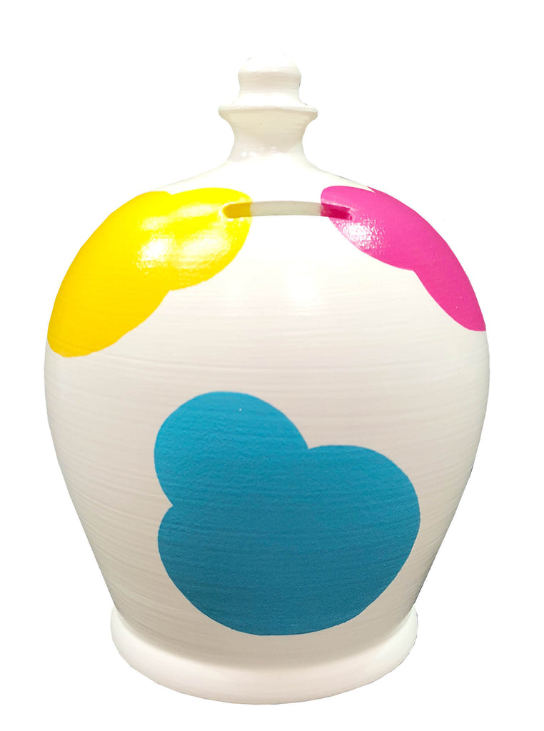 Cloud Money Pot White with Blue, Green, Yellow, Orange, Pink and Lilac - D84