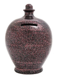 Glitter Money Pot Black with Silver and Red - G1