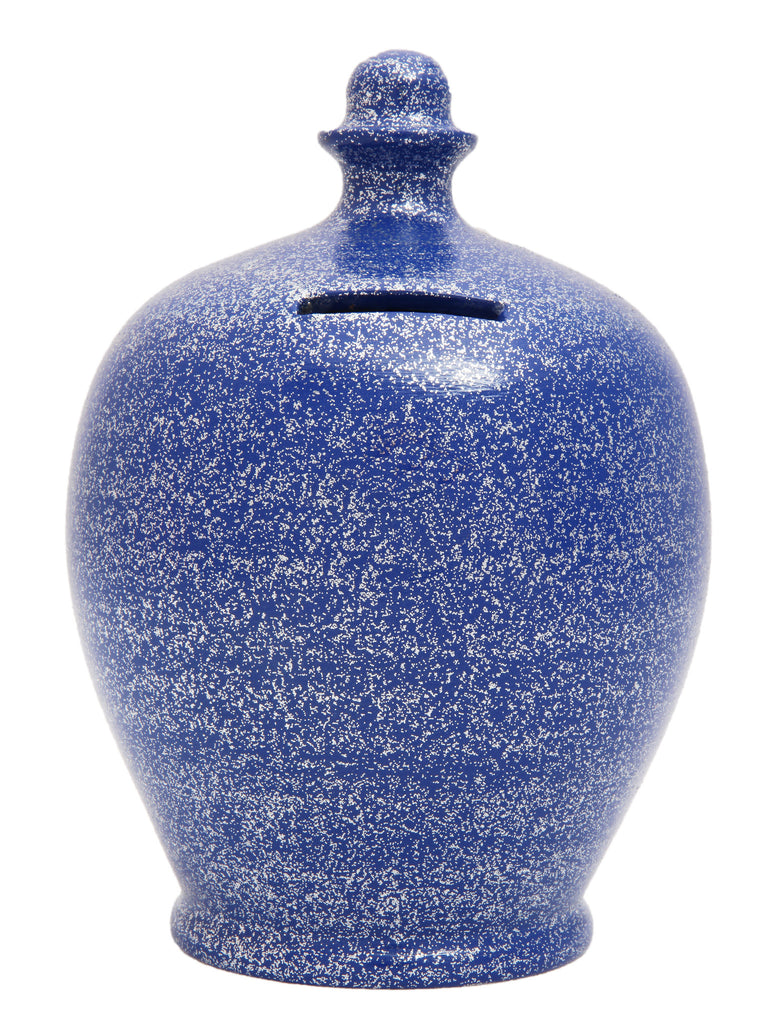 Glitter Money Pot Blue with Silver - G11