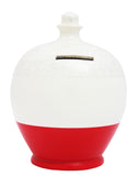 Glitter Money Pot White with Red and silver - G13