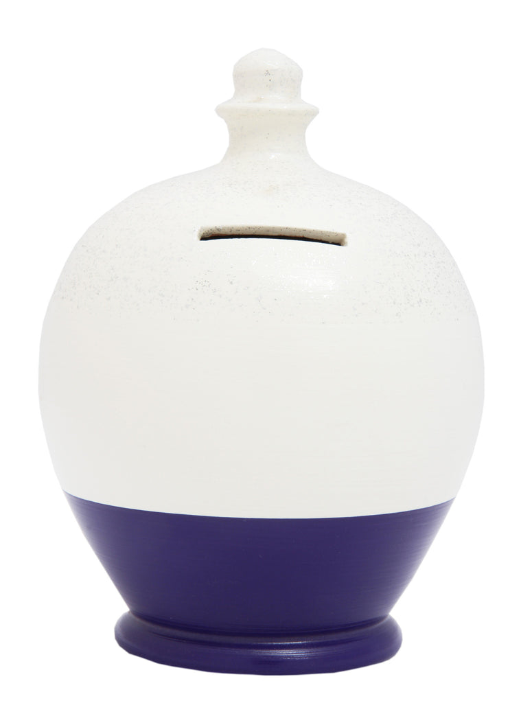 Glitter Money Pot White with Purple and Silver - G16