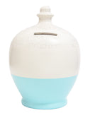 Glitter Money Pot White with Baby Blue and Silver - G3