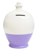 Glitter Money Pot White with New Lilac and Silver - G4