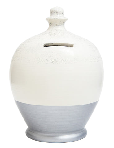 Terramundi Money Pot Glitter White with Silver Base and Silver - G6