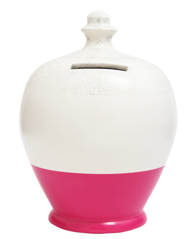 Glitter Money Pot White with Pink and Silver - G7