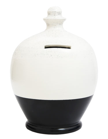 Glitter Money Pot White with a Black and Silver - G8
