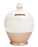 Terramundi Money Pot Glitter White with Rose Gold Base and Rose Gold Glitter - G9