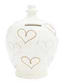 Love Money Pot White with Gold and Silver Hearts - L17